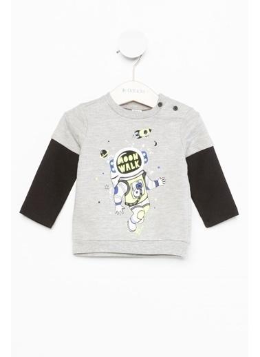 DeFacto Erkek Bebek Baskılı Sweatshirt Gri